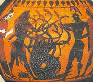 Ancient Greek Vase with image of Hydra