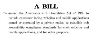 Cover of a bill introduced in Congress